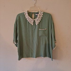 Comme Toi Green Crew Neck Short Sleeve Blouse Top